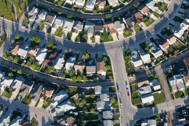 aerial view of Calgary neighborhood